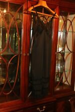 Vintage black full slip S 34 embroidered chiffon lots of lace lined w/chiffon