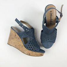 MUDD Knoll Wedge Heels Casual Knit Sandals 8 M Blue Cut Out Crotchet Ankle Strap