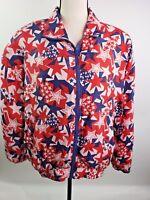 VTG Bogari Medium 100% Silk Americana Stars USA Patriotic Shirt Zippered Jacket