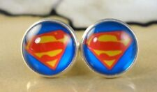 SUPERMAN  12mm round glass dome stud Earrings gift jewelry for women superhero