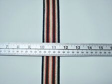 "5 yds Striped 1 1/2"" Heavy Duty Suspender Elastic Striped Navy, Red & Beige"