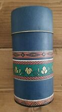 """New listing Nk Tea Spice Tin Container Storage with Seal and Lid Leaf Denim Look 6.75"""" Tall"""