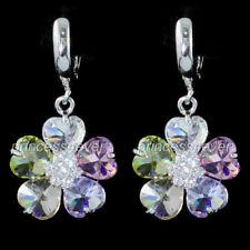 White Gold Plated Flowers & Plants Simulated Sterling Silver Fashion Earrings