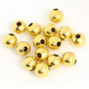 12 Gold Plated Sterling Silver Spacer Beads Small Hole 6mm Jewelry Crafting