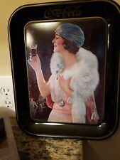 Vintage 1925 Coca Cola Flapper Party Girl Advertising Serving Tray replica 1973
