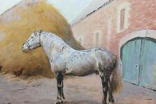 Ancienne aquarelle représentant un cheval dans un haras ou cours de ferme