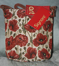 Signare Tapestry POPPY Sling Bag - zip fastening/adjustable shoulder strap NEW