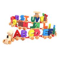 2 in 1 Montessori Bausteine Spielzeug mit Zug Spielzeug und Buschtaben Blöcke,