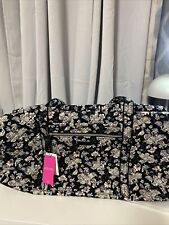 Vera Bradley Womens Iconic Large Travel Duffel Bag Black Quilted Floral