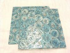 PAIR Thai Silk Cushion Covers x2 BLUE 16x16 Home Decor Bed Sofa Swirl Floral NEW