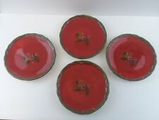 "4 Tracy Porter Octavia Hill Collection Red 8"" Salad Plates ""Dream Delicious"""