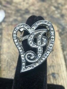 Initial Large J Heart ladies Ring with CZ Stones Sterling Silver 925 New!