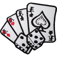 Playing Cards Dice Iron On Patch Sew Embroidered Badge Poker Casino Ace Spades