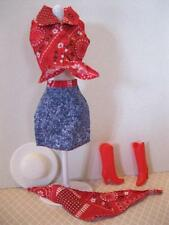 VTG Barbie Cowgirl Cowboy Fashion CLothes Boots Red Denim Skirt Scarf Tie Shirt
