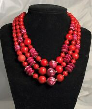 Vintage Estate Signed Japan Shades of Red Beaded Multi Strand Bead Necklace A3