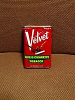 Vintage Collectible Velvet Pipe And Cigarette Smoking TobaccoPocket Tin Red Can