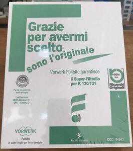 SACCHETTI FOLLETTO VK130 Vk131 ORIGINALI VORWERK FOLLETTO PROMOZIONE 6 Pezzi
