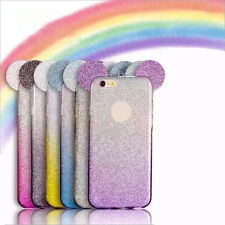 HOT Rainbow Flash Mickey Ears Gradient Glitter Soft Bling Case For Various Phone