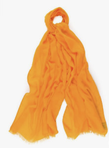Drake's Yellow Solid Colour Modal Blend Scarf Cashmere Made In Italy