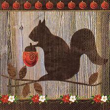 4 Motivservietten Servietten Napkins Tovaglioli Herbst Eichhörnchen (843)