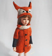 outfit for doll 13-in, Knitted BJD KID iplehouse, Fox costume, fox hat