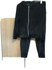 M&S Collection BLACK VELOUR HOODED JACKET AND MATCHING BOTTOMS