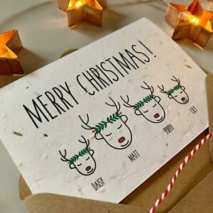 Personalised Family Christmas Cards, Plantable SEEDED card, Eco Friendly Recycle