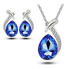 Women Chic Crystal Pendant Chain Necklace Stud Silver Plated Earring Jewelry Set Blue