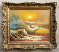 Vintage Mid-Century Seascape Original Oil Painting Luminist Antique Gilt Frame