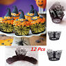 12Pcs Halloween Spider Cupcake Wrappers Paper Cake Topper Favor Party Decor Cute
