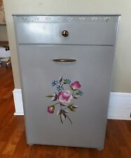 Vintage Detecto Metal Laundry Hamper Gray Top Drawer Painted Flowers Cut Out Top