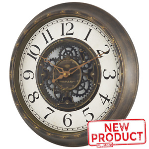 Large Gear Wall Clock Analog Lightweight Plastic Frame Aged Bronze Finish 15.5""