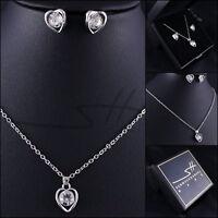 Halskette+Ohrstecker *Schlichtes Herz* Weißgold pl, Swarovski Elements, +Etui