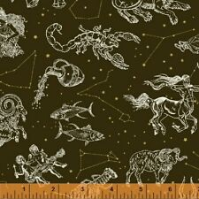 STARGAZER Astrological Sign Windham Cotton Quilt Fabric 51757M 1 Antique Black