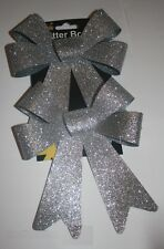 2x glitter bows christmas gift wrapping wreath hampers crafts floristry flowers