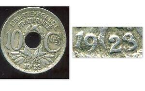 10 ct  1923 LINDAUER    ( VARIETE )   le 3 de 1923 mal frappée  (1)