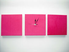 SET OF 3 MODERN FAUX SUEDE BRIGHT HOT PINK WALL HANGINGS & CLOCK GIRLY/PRINCESS