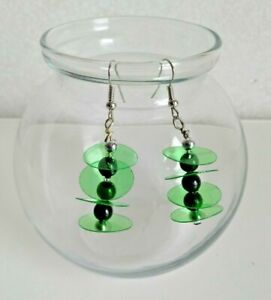 Upcycle RECYCLED soda POP bottle EARRINGS  jewelry GREEN CIRCLE BLACK BEADS
