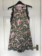Topshop Pink Floral & Black Lace Playsuit - Brand New With Tags RRP £48 Size 8