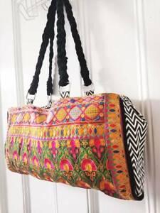 Leather Travel Bag Holdall Duffel Embroidered Banjara Boho vintage Hippie ethnic