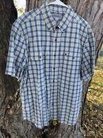 CARHARTT MENS XL RELAXED FIT Blue Plaid Short Sleeve Shirt