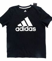 NEW Adidas Girls' Cotton Logo Tee, Black Size S (8)