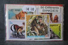 Animaux, Singes, 50 timbres thématiques, tous différents