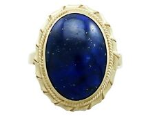 Vintage Italian 5.90 ct Lapis Lazuli and 18 ct Yellow Gold Dress Ring - Size R