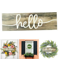 wooden hanging wall sign plaque shabby chic home decor diy hello wreath for door