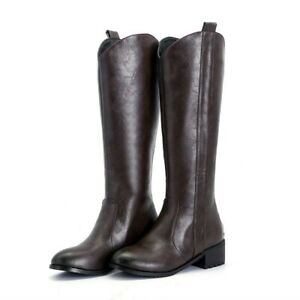Ladies Shoes Faux Leather Low Cuban Heel Zip Up Round Toe Mid Calf Boots 44-48 D