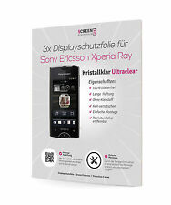 3x Schutzfolie für Sony Ericsson Xperia Ray ST18i Displayschutzfolie Klar Clear