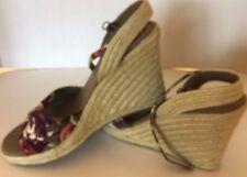 New Sketchers Women Wedge Shoes Espadrille Floral Corduroy Violet 10 Strap