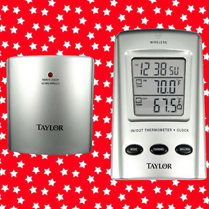Taylor Weather Guide Wireless Indoor Outdoor Thermometer Temp Clock Remote F C