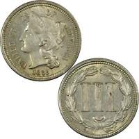 1865 Nickel Three Cent Piece CHAU Choice About Uncirculated Details 3c Type Coin